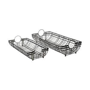 Kenneth Gunmetal Gray Metal Basket, Set of Two