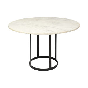 Tanner II Black Round Marble Top Dining Table