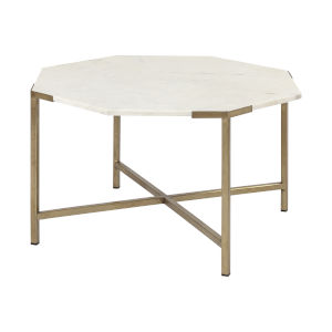 Vincent I Espresso and White Hexagonal Marble Top Coffee Table