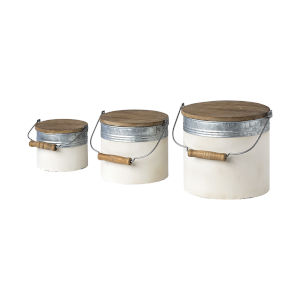 Alani White Metal Storage Box, Set of Three