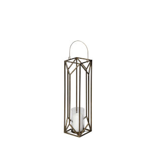 Ivy Gold 30-Inch Geometric Cage Candle Holder