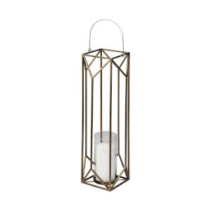 Ivy Gold 36-Inch Geometric Cage Candle Holder