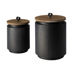 Cyril Brown and Gray Cylindrical Box