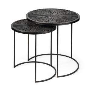 Chakra Dark Wood Black Round Nesting Table, Set of Two