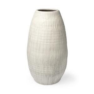 Reyan Pearl White Ceramic Striped Vase