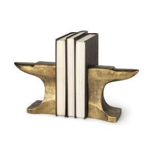 Anvilia Antique Gold Anvil Shaped Bookend