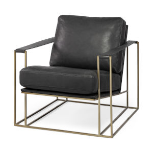 Watson Black and Gold Leather Wrapped Arm Chair