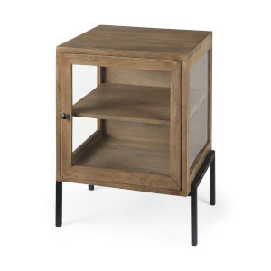 Arelius Light Brown and Black End Table