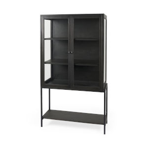 Arelius Dark Brown and Black Display Cabinet