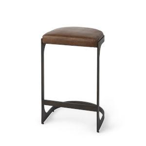 Tyson Medium Brown Leather Seat Counter Height Stool
