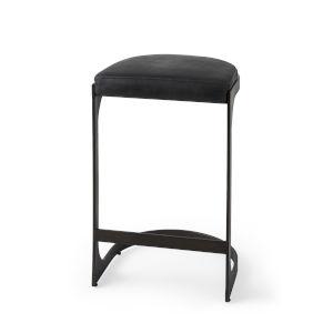 Tyson Black Leather Seat Counter Height Stool