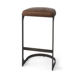 Tyson Medium Brown Leather Seat Bar Height Stool