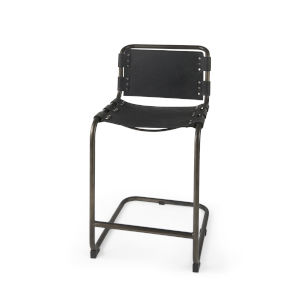 Berbick Black Leather Seat Counter Height Stool
