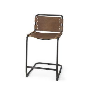 Berbick Medium Brown Leather Seat Counter Height Stool