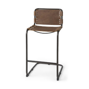 Berbick Medium Brown Leather Seat Bar Height Stool