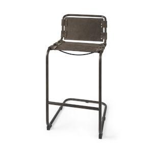 Berbick Dark Brown Leather Seat Bar Height Stool