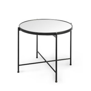 Samantha Black 20-Inch Mirror Top End Table