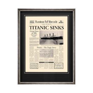 Silver Titanic Sinks Wall Art