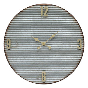 Fulton Corrugated Galvanized Metal Clock with Cream Accents