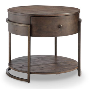 Fulton Rustic Dark Whiskey Reclaimed Wood Round Accent Table