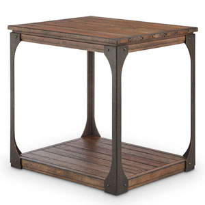River Station Industrial Reclaimed Wood Rectangular End Table in Bourbon Finish
