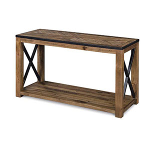 River Station Natural Sienna Wood Rectangular Sofa Table