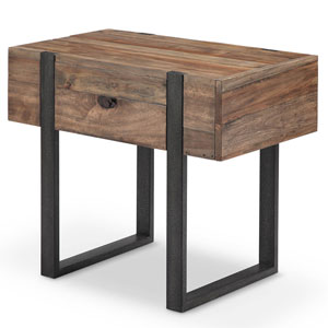 Fulton Industrial Farmhouse Reclaimed Wood Chairside End Table in Rustic Honey