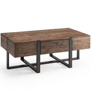 Fulton Industrial Farmhouse Reclaimed Wood Condo Rectangular Coffee Table in Rustic Honey