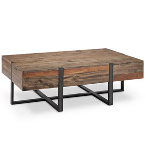 Fulton Industrial Farmhouse Reclaimed Wood Rectangular Coffee Table in Rustic Honey