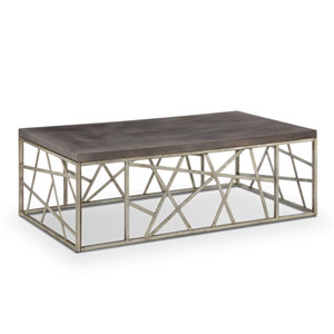 Kenwood Rectangular Cocktail Table in Distressed Silver and Smoke Grey