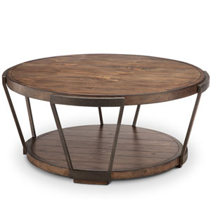 Afton Industrial Bourbon and Aged Iron Round Coffee Table with Casters