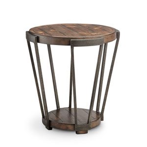 Afton Industrial Bourbon and Aged Iron Round End Table