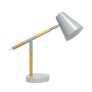 Alloy Matte Gray Wood One-Light Desk Lamp