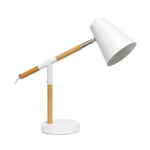 Alloy Matte White Wood One-Light Desk Lamp
