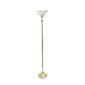 Quince Gold White Shade One-Light Floor Lamp