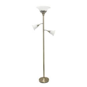 Quince Antique Brass White Shade Three-Light Floor Lamp