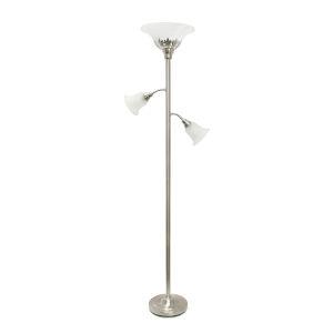 Quince Brushed Nickel White Shade Three-Light Floor Lamp