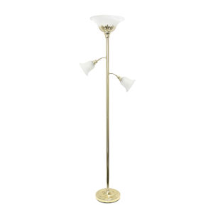 Quince Gold White Shade Three-Light Floor Lamp