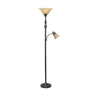 Quince Restoration Bronze Two-Light Floor Lamp with Amber Shade