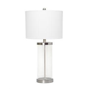 Cerise Brushed Nickel White One-Light Table Lamp