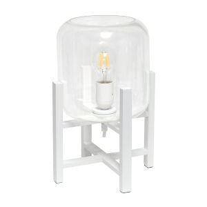 Alloy White Clear Glass One-Light Table Lamp