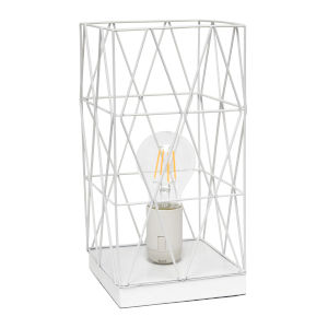 Wired White One-Light Geometric Square Table Lamp