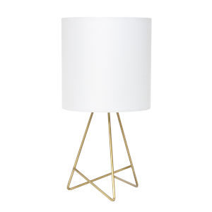 Wired Gold White One-Light Table Lamp