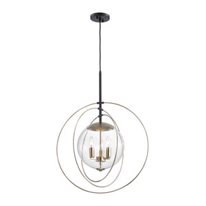 Loring Polished Gold and Oil Rubbed Bronze 23-Inch Three-Light Pendant