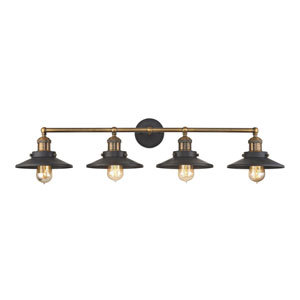 Afton Antique Brass and Tarnished Graphite 38-Inch Four-Light Vanity
