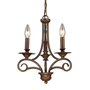 Aster Antique Bronze Three-Light Mini Chandelier