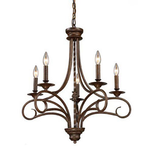 Aster Antique Bronze Five-Light Chandelier