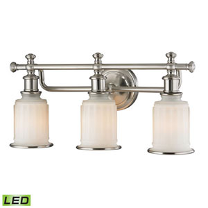 Evelyn Brushed Nickel LED Three-Light Vanity