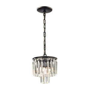 Vivian Oil Rubbed Bronze 9-Inch One-Light Mini Pendant with Clear Crystal