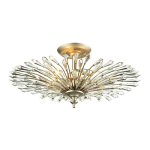 Vivian Aged Silver Three-Light Semi-Flush Mount Fixture